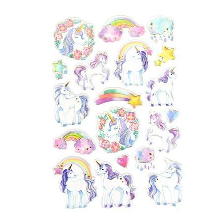 Unicorn Foil Accented Watercolor Epoxy Stickers, 19-Piece Sea World Epoxy Stickers