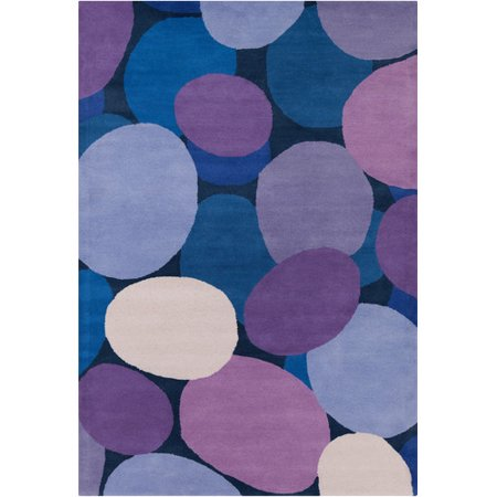 Chandra Rugs Stella Patterned Contemporary Wool Purple Blue Area Rug