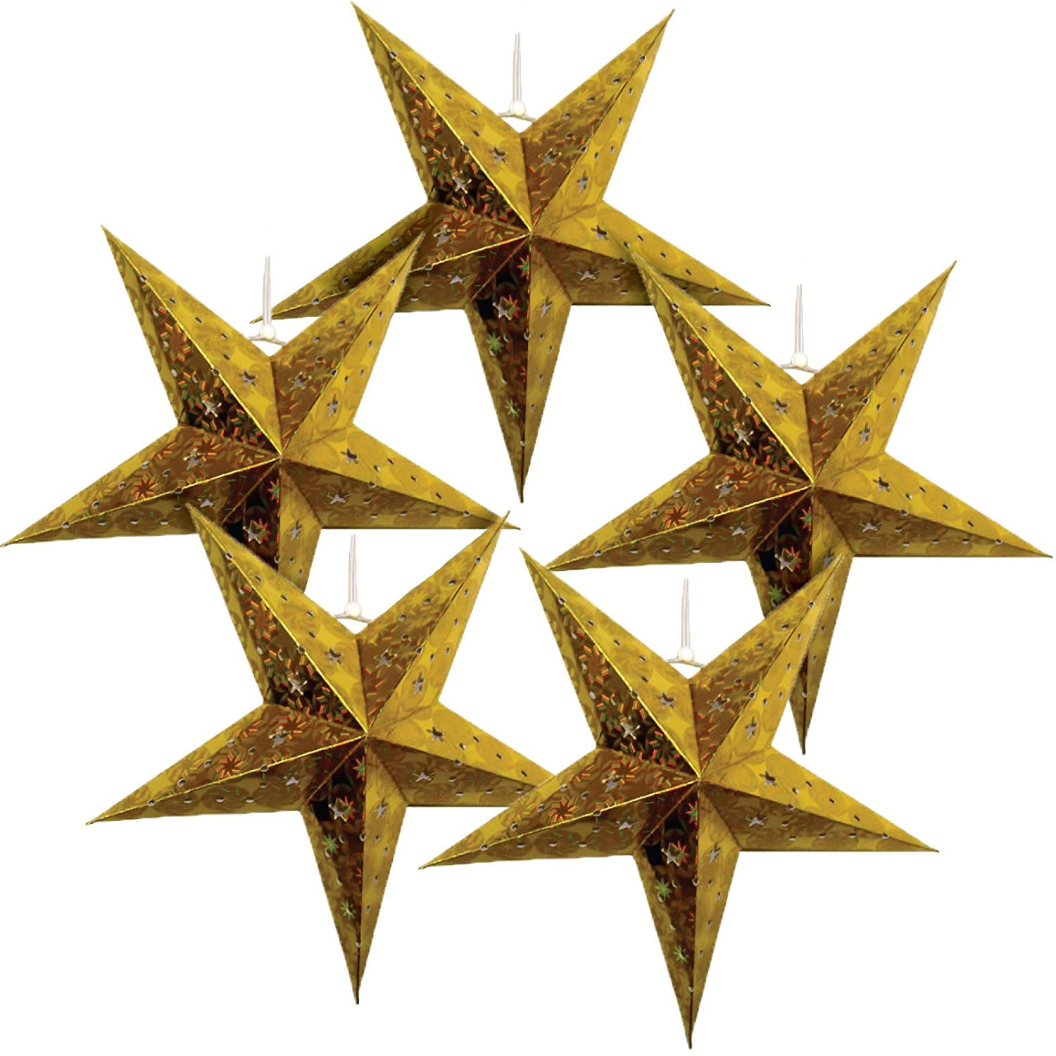 Just Artifacts - Star Shaped Paper Lantern/Lamp Hanging Decoration - (Set of 5, 11inch, Gold)