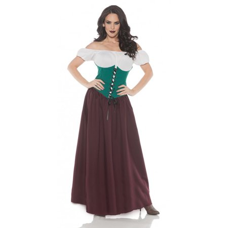 Renaissance Bar Maid Womens Adult Green Burgundy Halloween - Maid Costumes Halloween