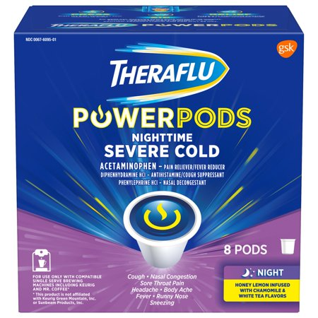 Theraflu PowerPods Nighttime Severe Cold Medicine, Honey Lemon with Chamomile & White Tea Flavor Pods, 8 (Best Medicine For Common Cold In India)