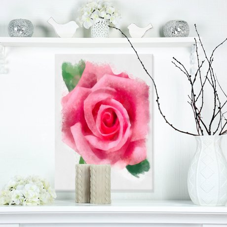 Big pink rose flower with leaves large floral canvas artwork mightylinksfo