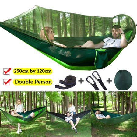 Portable Camping Hammock with Mosquito Net, Including Carabiners & Rope– 2 Person Nylon Parachute Hammock - Green (Cargo Net Hammock Rav4)