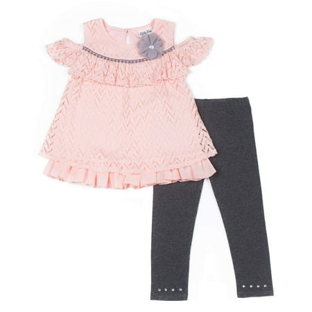 Cold Shoulder Chevron Textured Blouse & Leggings, 2-Piece Outfit Set (Baby Girls & Toddler Girls)