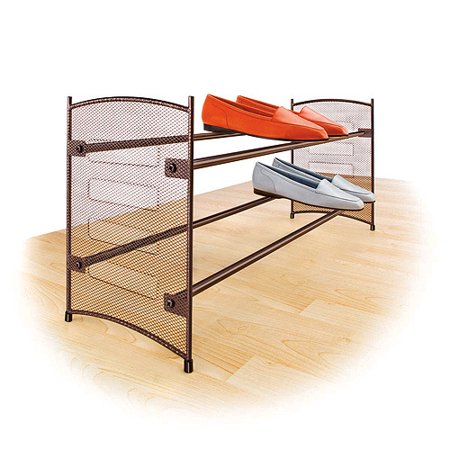 Lynk Stackable/Expandable Shoe Rack, Bronze Lynk Stackable Shoe Rack: The Lynk shoe rank, bronze, features a mesh designStackable/expandableMade of bronze epoxy-coated steelExpands from 22.5  to 43 Wide base keeps shoe racks stable even on thick carpetsAlso holds shoe boxes