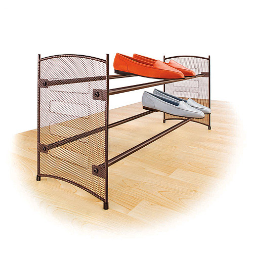 Expandable 2 Tier Stackable Shoe Rack - Steel Mesh Shoe Shelf - Bronze