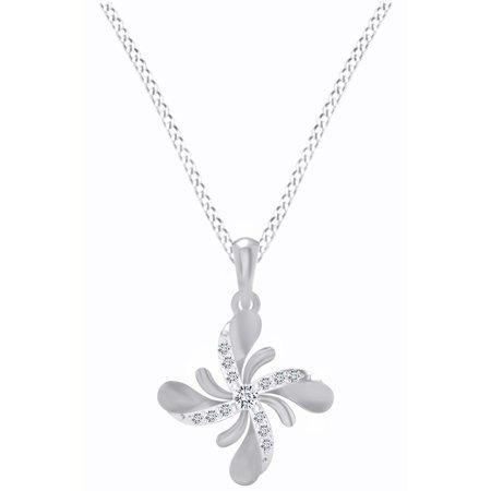 1/9 Carat Natural Diamond Flower Pendant Necklace 14k White Gold (0.11 - White Gold Diamond Flower Pendant