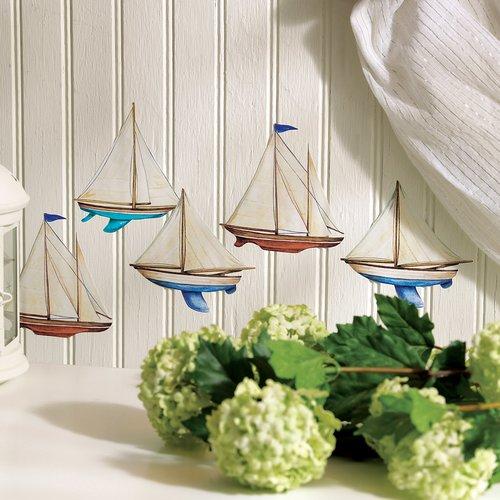 "Wallies Peel & Stick Sailboats, 4 sheets - 6"" x 7.5"""