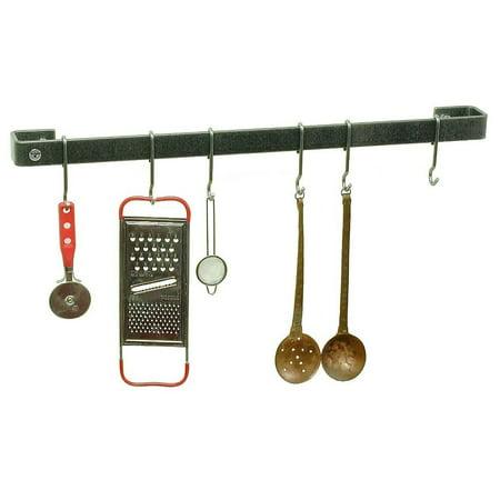 - Enclume Premier Utensil Bar Wall Pot Rack, Hammered Steel