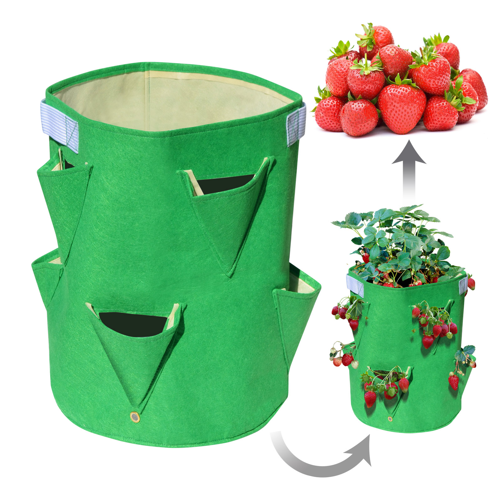 Strong Camel Planter Bag Felt Fabric Garden Planting Bag Grow Strawberry and Herb Plant Tub 5 Pack