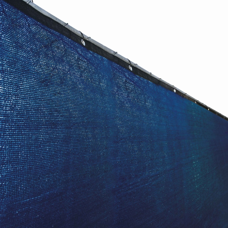 Aleko Privacy Mesh Fabric Screen Fence with Grommets - 5 x 50 Feet - Blue
