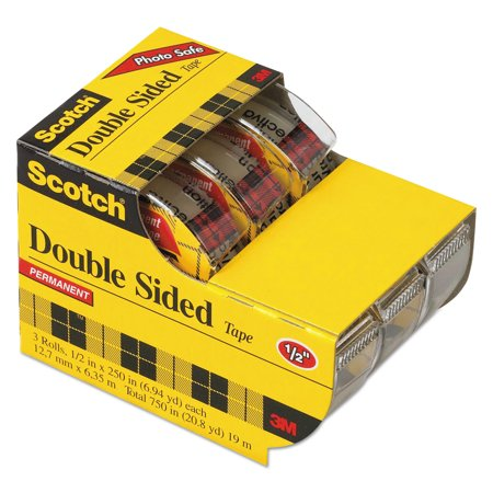 Scotch 665 Double Sided Permanent Tape In Hand Dispenser  1 2  X 250   Clear  3 Pack