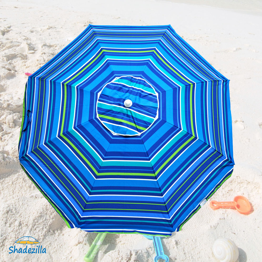 Platinum 6.5 ft Polyester UPF 100 Beach Umbrella with Vent & Tilt