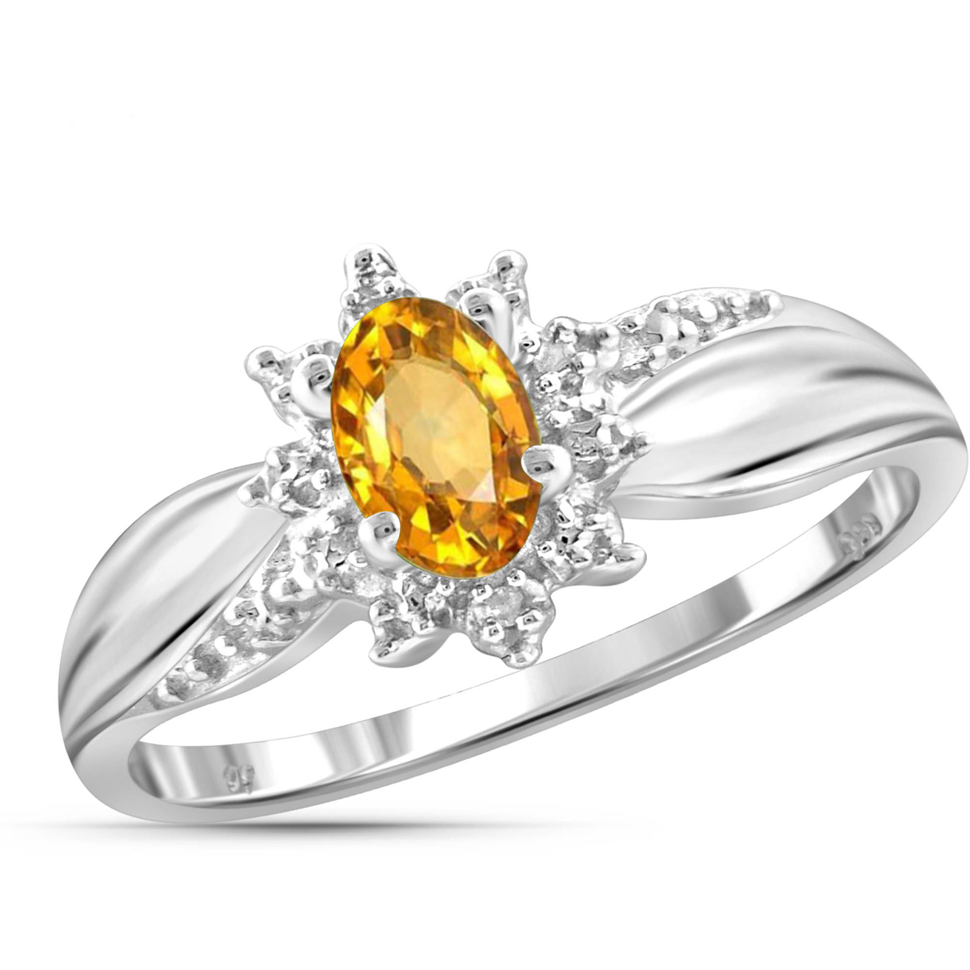 JewelersClub 0.46 Carat T.G.W. Citrine Gemstone and White Diamond Accent Ring