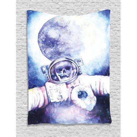 Skull Decorations Tapestry  Watercolor Cosmonaut On Outer Space Milky Way With Moon Earth Galaxy  Wall Hanging For Bedroom Living Room Dorm Decor  60W X 80L Inches  Blue Purple  By Ambesonne