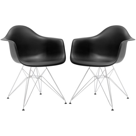 Black Arm Chairs (Poly and Bark Padget Arm Chair in Black (Set of 2))