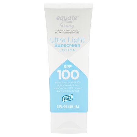 Sun Beauty Care - Equate Beauty Ultra Light Broad Spectrum Sunscreen Lotion, SPF 100, 3 fl oz