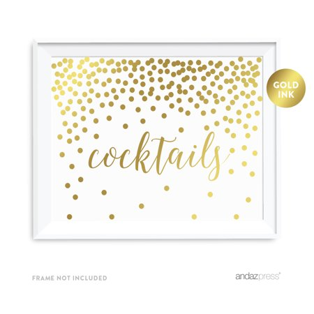 Metallic Gold Confetti Polka Dots 8.5x11-inch Party Sign, Cocktails Reception Dessert Table Sign, (Dots Dessert)