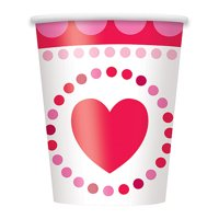 Radiant Hearts Valentine's Day Paper 9oz Cups, 8ct