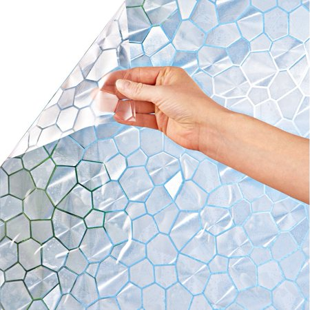 Cut to Fit Window Privacy Film with Printed Artwork Patterns - Decorative Film for Natural Light Easily Removable and Reusable and No Adhesive Needed, Frosted Mosaic ()