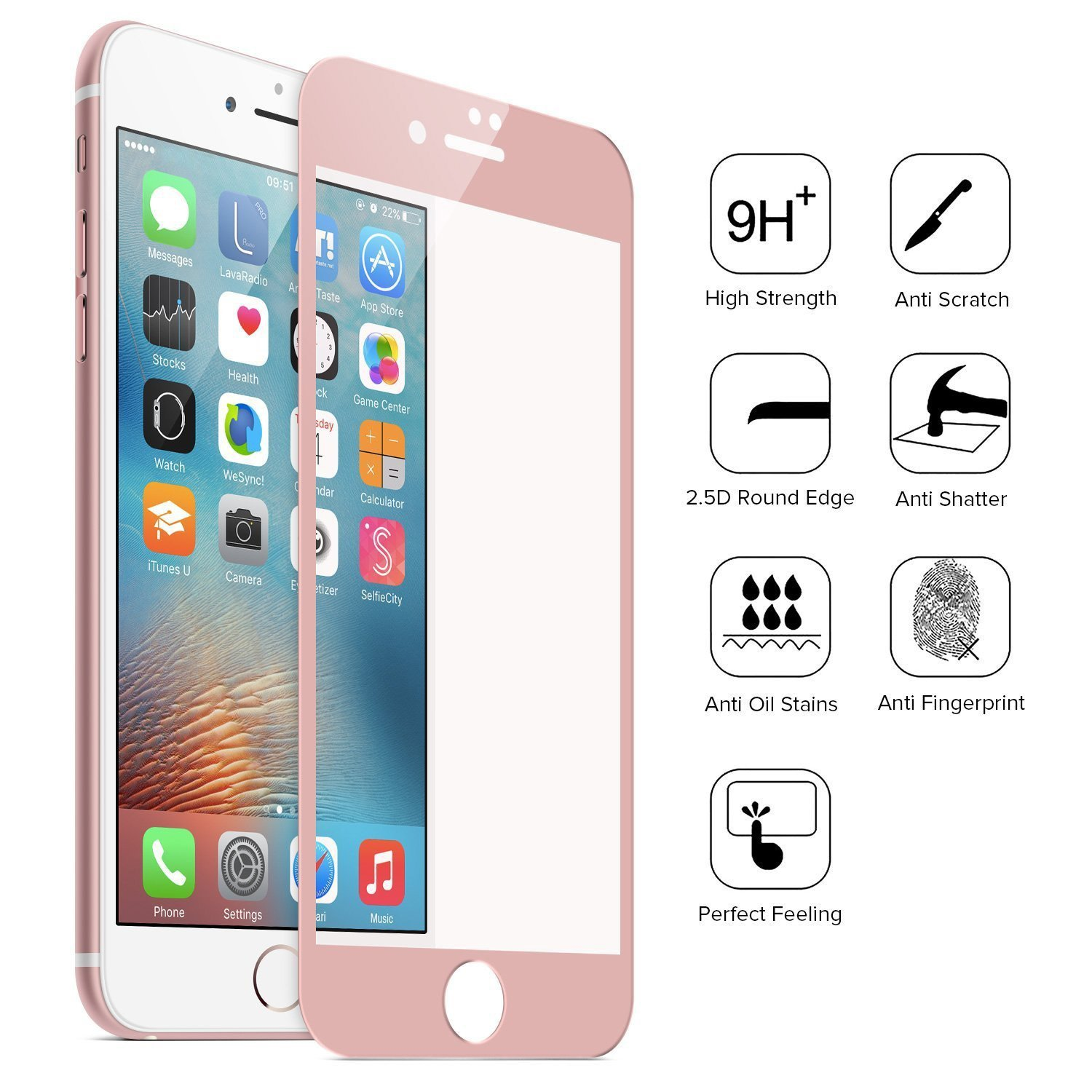 Full Coverage RoseGold Tempered Glass Screen Protectector for iPhone 6 Plus/6S Plus