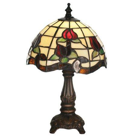 Meyda Tiffany - 19189 - One Light Mini Lamp - Roseborder - Beige Burgundy Xag-37pack ()