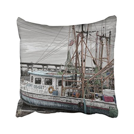 WinHome Square Throw Pillow Covers Vintage Gray Beige Fishing Boat Ocean Marina Grey Pillowcases Polyester 18 X 18 Inch With Hidden Zipper Home Sofa Cushion Decorative