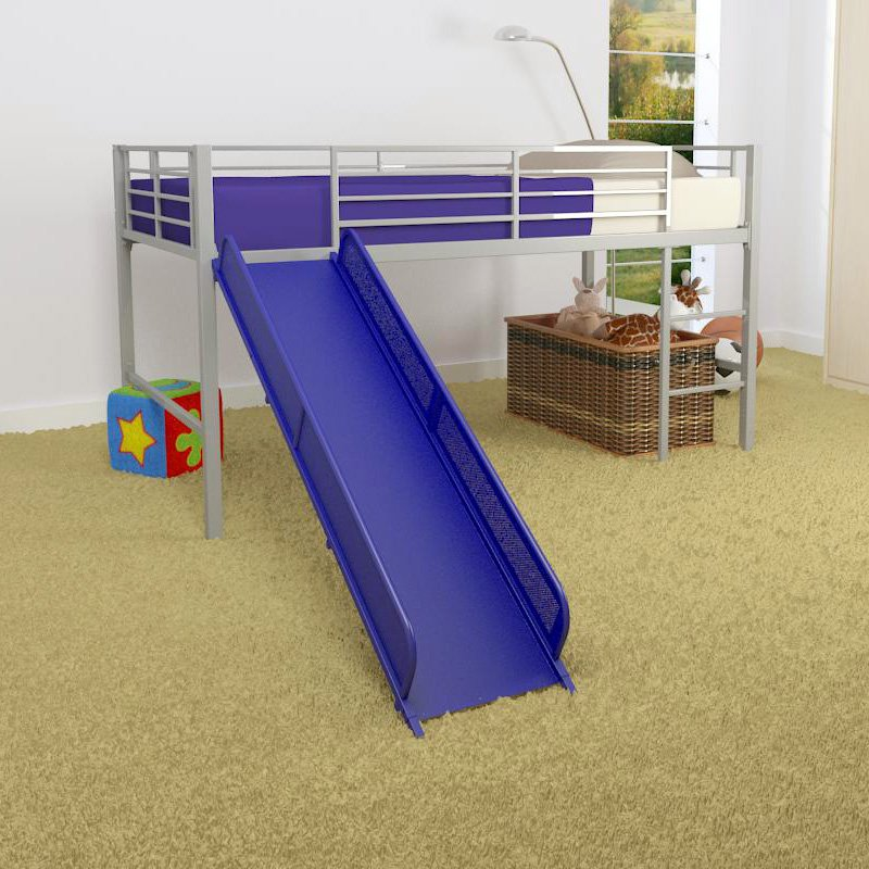 Twin Bed With Slide Part - 16: Girl Twin Loft Bed With Slide, White And Pink (COMPONENT) - Walmart.com
