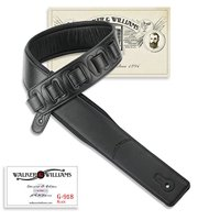 Walker & Williams G-918 Natural Finish Black Leather Padded Guitar Strap