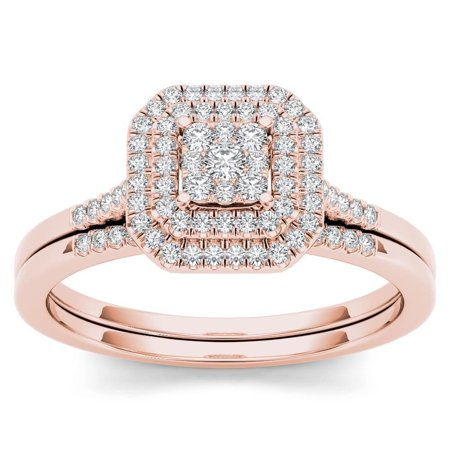 Pink Topaz Cluster - 10k Rose Gold 1/4ct TDW Diamond Cluster Halo Bridal Set - Pink