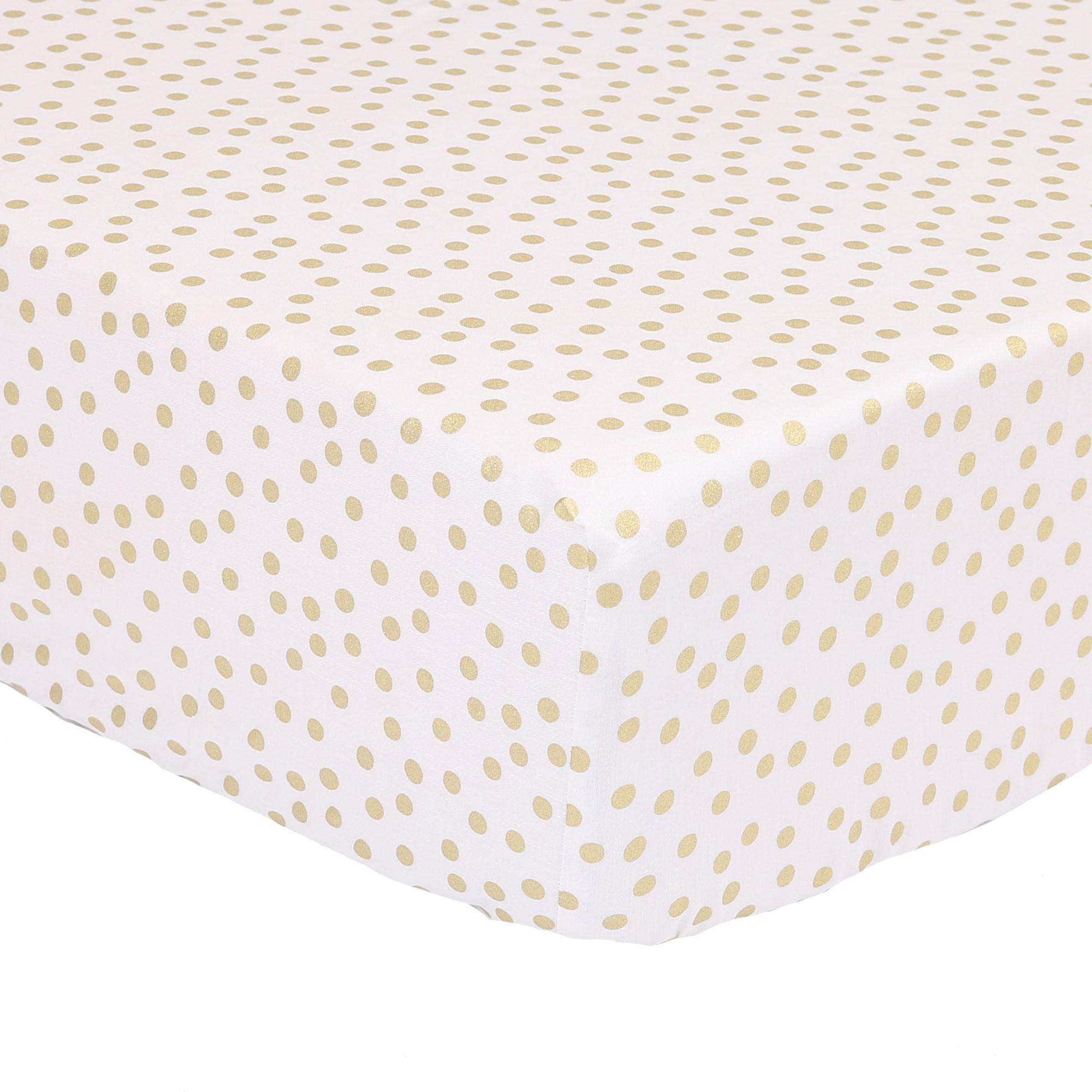 The Peanut Shell Baby Crib Fitted Sheet - Metallic Gold Confetti Dot Print - 100% Cotton Sateen, Fits Standard 52 by 28 Inch Mattress