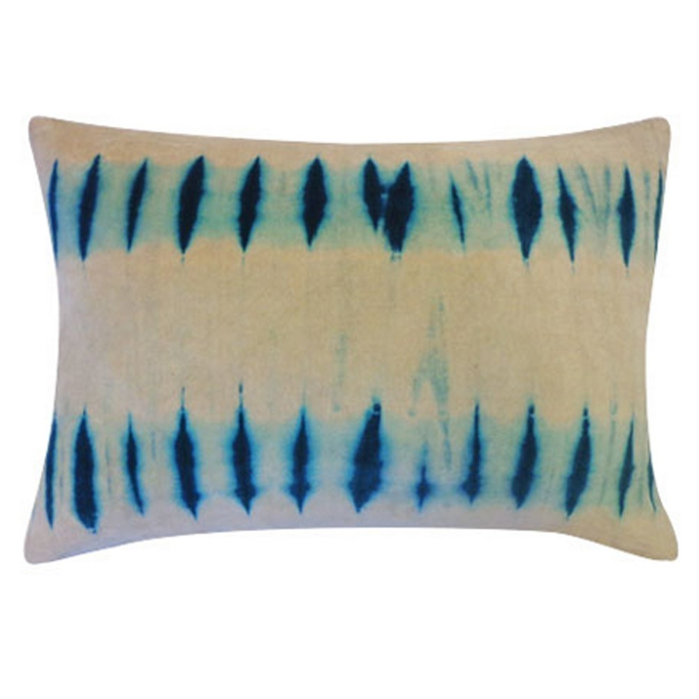Vivai Home Turquoise Blinds Tie Dye Pattern 14x 12 Cotton Feather Pillow