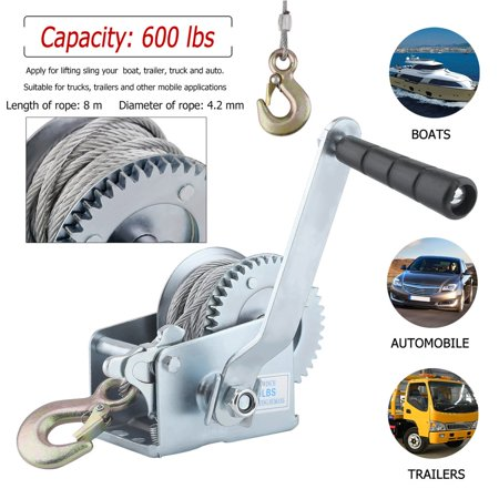 - Five Oceans Marine Trailer Crank Hand Winch for Boats 600 Lbs with Strap Manual . FO-1782