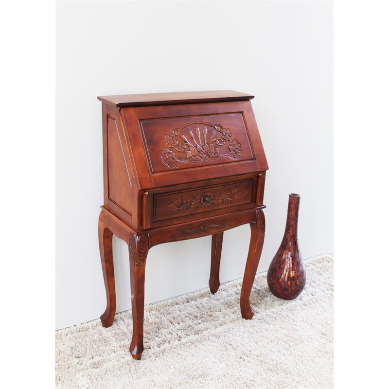 International Caravan Windsor Small Secretary Desk in Walnut Stain