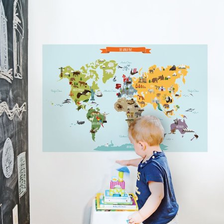 Childrens World Map Poster Sticker Small Inch W X Inch - Small world map poster