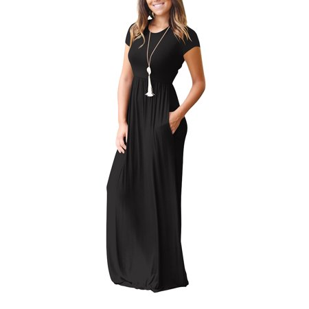 Women Short Sleeve Maxi Dress With Pockets Plain Loose Swing Casual