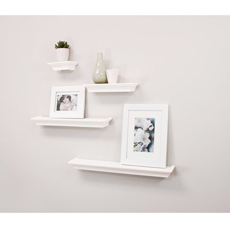 huge selection of 652fb c1f1e Top Knobs Floating Shelves White, Ledge Wall Shelf, Super Sturdy, Easy to  Install, 2 Photo Frames Inclouded (4 Inches Deep, Set of 4 pcs)