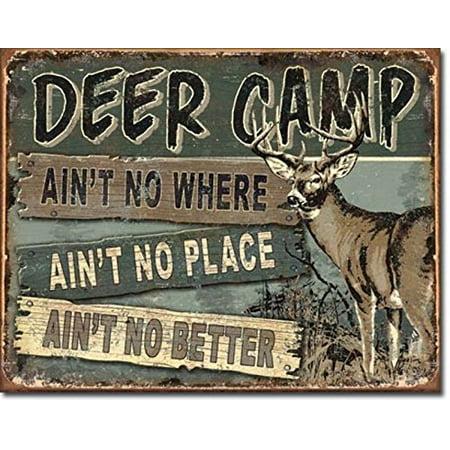 Deer Camp Tin Sign Multi-Colored