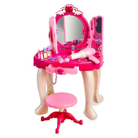 pink princess make up vanity table for little girls with sound and light. Black Bedroom Furniture Sets. Home Design Ideas