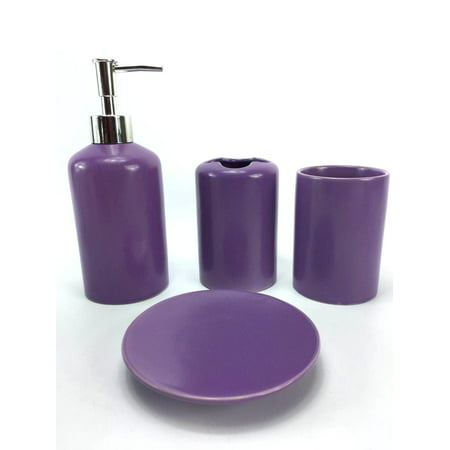 WPM 4 Piece Ceramic Bath Accessory Set | Includes Bathroom Designer Soap or Lotion Dispenser w/ Toothbrush Holder, Tumbler, Soap Dish Choose from Purple, Black, Brown, Navy or Burgundy (Purple)