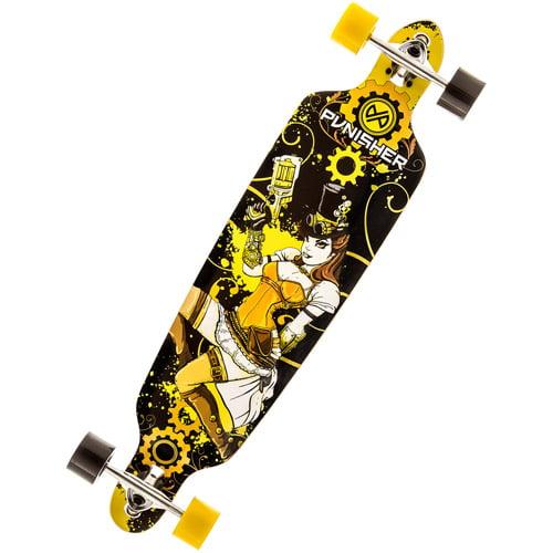 "Punisher Skateboards Steampunk 40"" Long Board, Double Kick with Drop Down Deck"