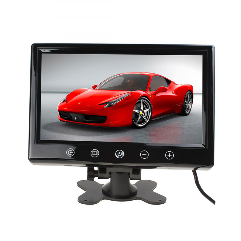 9 Inch Best TFT Car Monitor with Rear View LCD Display Screen Full Color LED HD Backlight Touch Screen LCD Monitor with 2 Video Input Touchscreen for Car Reversing Camera