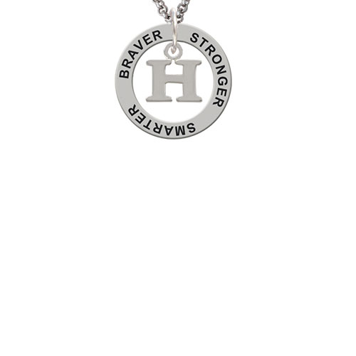 Small Initial - H - Stronger Braver Smarter Affirmation Ring Necklace