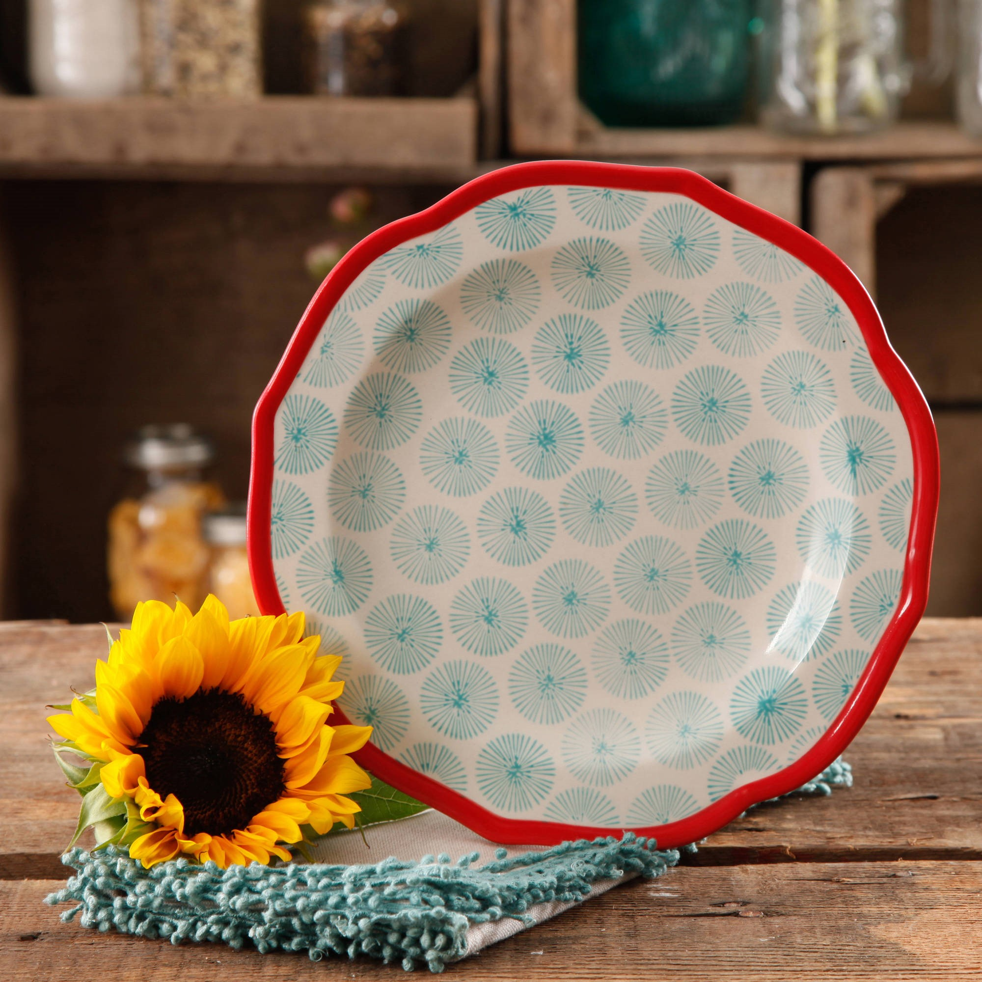 "The Pioneer Woman Happiness 8.5"" Red Rim Decorated Scallop Shape Salad Plates, Set of 4"