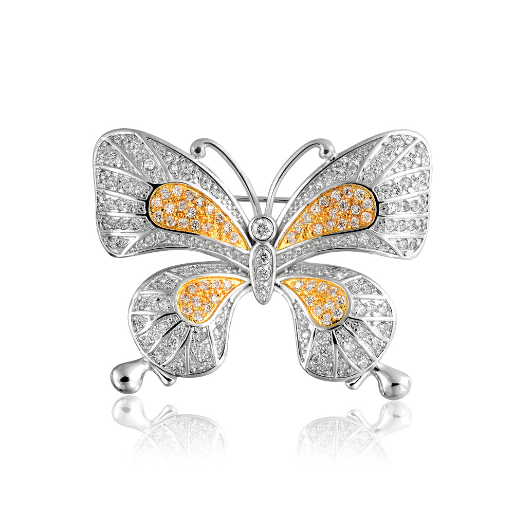 Bling Jewelry Vintage Style Two Tone Pave Cubic Zirconia Butterfly Brooch Pin Rhodium Plated Gold Plated by Bling Jewelry