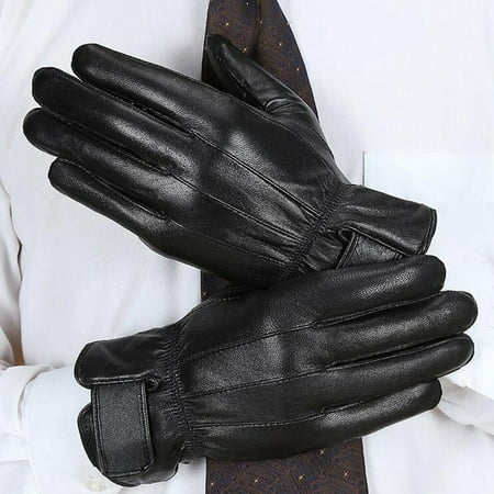 "10""x 4"" Mens Leather Gloves Fully Lined Warm Fleece Winter Windproof Warm Driving Full Finger Glove Mittens"
