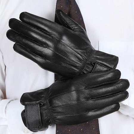 """10""""x 4"""" Mens Leather Gloves Fully Lined Warm Fleece Winter Windproof Warm Driving Full Finger Glove Mittens"""