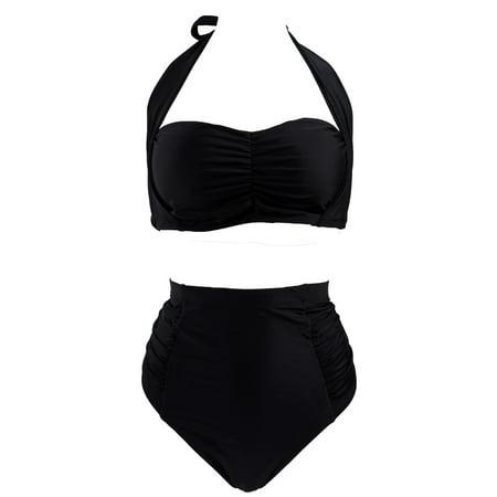 87457ff4bb021 HDE - HDE Women's Plus Size Retro Bikini Swimsuit Vintage High Waisted  Pinup Swimwear (Black Halter, XX-Large) - Walmart.com
