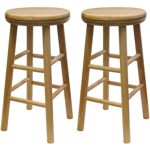 "Wood Swivel Seat, Kitchen Stool, 25"", Set of 2, Beechwood"