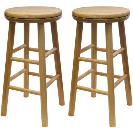 Wood Swivel Seat  Kitchen Stool  25   Set Of 2  Beechwood
